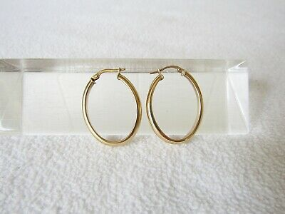 Superb Vintage Solid Large 9ct Yellow Gold Fully Hallmarked Oval Earrings