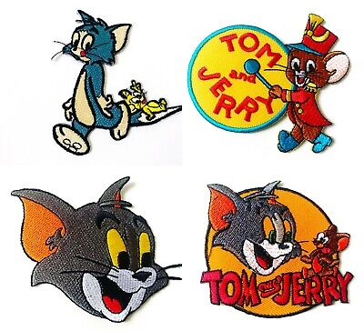 XXL TOM Jerry Cat Sequins Embroidered Patch Cartoon KIDS Tshirt  Applique