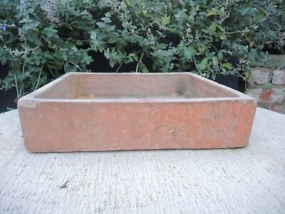 """Rare Old  Hand Thrown  Vintage Square Terracotta Seed Pan 12"""" Square (1187)"""