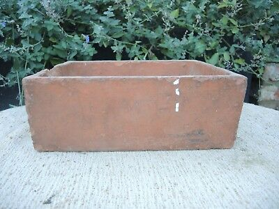 """Rare Old  Hand Thrown  Vintage Square Terracotta Seed Pan 11"""" Long (1189)"""