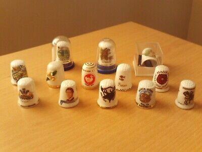 Vintage Job Lot Collection of 13 Thimbles Various Makers & Designs.