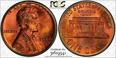 1959 PCGS MS66RB Rainbow Toned Lincoln Cent