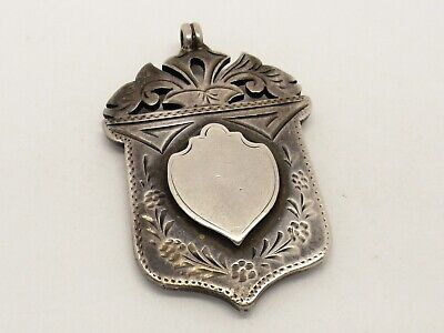 Victorian large sterling silver watch chain medal - 1896.
