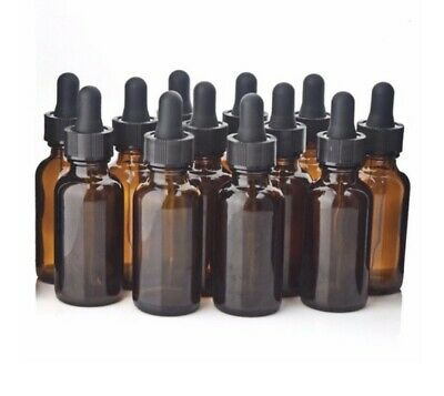 1 oz Amber Glass Boston Round Bottles w/ Black Bulb Glass Droppers (12 Pack)