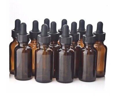 1 oz Amber Glass Boston Round Bottles w/ Black Bulb Glass Droppers (72 Pack)