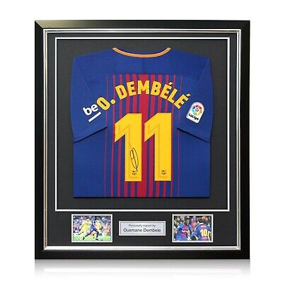36bc9a546 Ousmane Dembele Signed Barcelona 2017-18 Football Shirt In Deluxe Frame