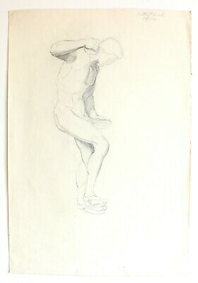 Original 1929 Graphite Male Realism Greek Statue Nude Drawing Art Signed 22x15""