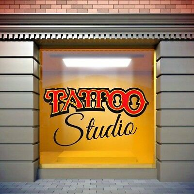 Tattoo Studio Window Stickers Shop Wall Decal Vinyl Art Advertising Chrome