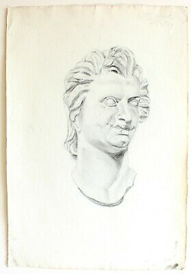 Original 1929 Charcoal Greek Roman Man Head Statue Drawing Art Signed - 15x22""