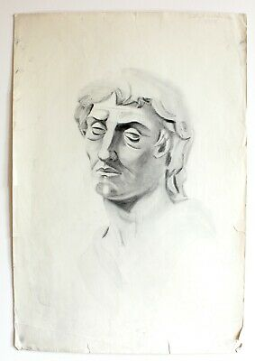 Original 1929 Charcoal Greek Roman Man Head Statue Drawing Art Signed -15x22""