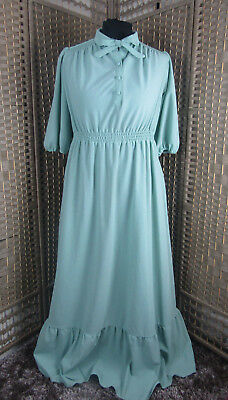 Pale Green Victorian Style Vintage Dress Maxi Modest UK 14 Pussy Bow Buttons 70s