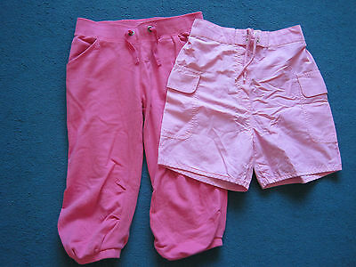 Capri cropped pink trousers F&F & pink shorts TU age 9-10 years