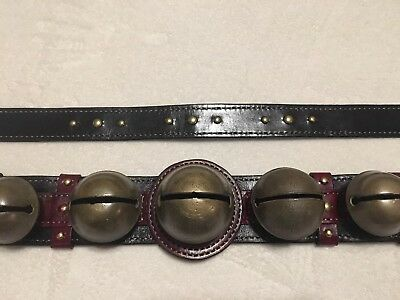 Large 9 Antique Brass Horse Sleigh Bells And Studs Black Burgundy Leather Strap