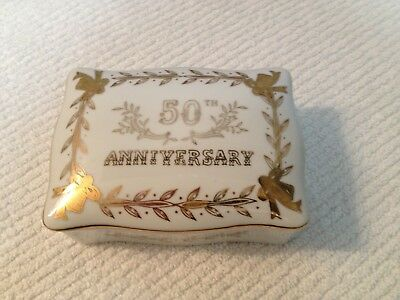 50Th Anniverary Lefton China Rectangler Box With Trays