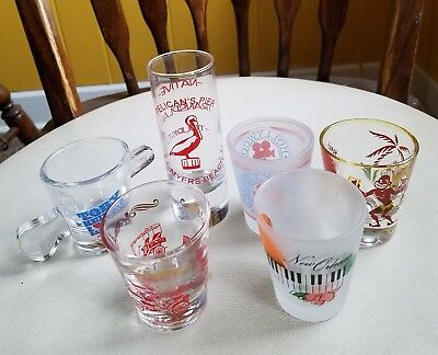 6 Mixed Lot Of Shot Glasses Lot Of Vintage/Souvenir  All In  Excellent Condition