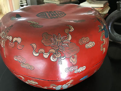 Vintage Chinese laquered pumpkin box