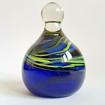 Vintage c1970s Mtarfa Glass Dump Paperweight Blue Yellow Swirls with Label :A8