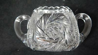 Antique 1900s American Brilliant Glass Hobstar & Fans Saw tooth Clear Sugar Bowl