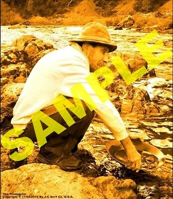 Gold poster miner panning Shasta Trinity Mountains California pls Lake Tahoe pic