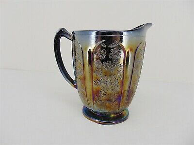 Vintage Iridescent Black ART GLASS Water PITCHER 32 oz Paneled Flowers