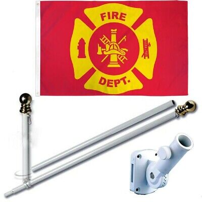 Fire Department Red 3 x 5 FT Flag Set + 6 Ft Spinning Tangle Free Pole + Bracket