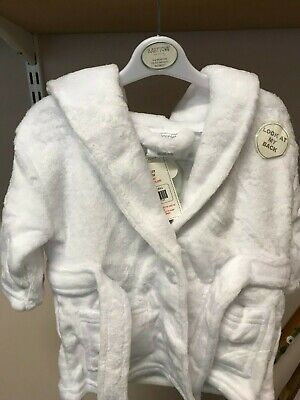 White Super Plush Robe For Baby 0-6 Months With Hood Bath Robe For Boy Or Girl