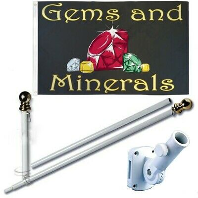 Gems and Minerals 3 x 5 FT Flag Set + 6 Ft Spinning Tangle Free Pole + Bracket