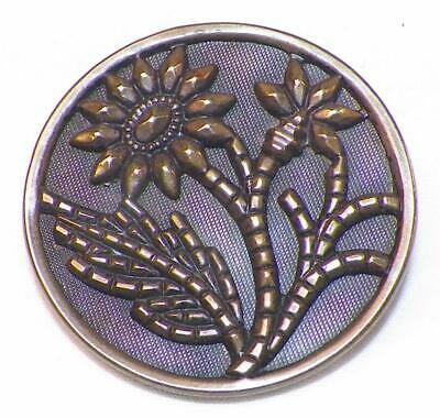 Antique Picture Button Daisies Daisy Flowers Brass Tinted Victorian 1.5 inch #50