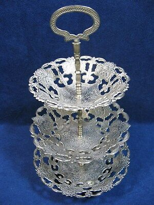 Vintage Silver Tone Pierced Metal Ornate Design Three Tiered Serving Tray Stand