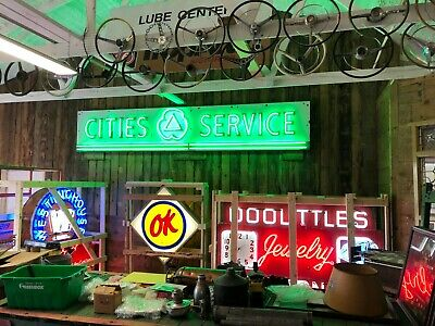 LARGE Vintage CITIES SERVICE Porcelain NEON Sign Gas Oil OLD Advertising WOW!