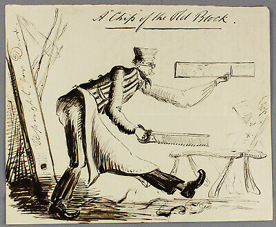 c1846 | Herbert Edwardes | pen and ink satirical sketch of long-legged carpenter