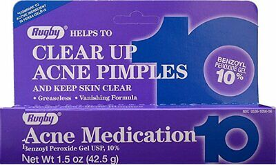 Rugby Acne Medication Benzoyl Peroxide Gel 10% Max Strength 1.5 oz (Pack of 24)