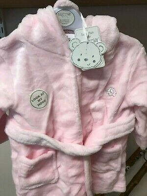 Toddlers Pink Robe Bath Robe For Girl With Hood And Ears 6-12 Months Baby