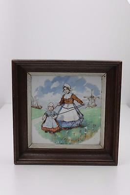 Delft Hand Painted Tile with Two Traditional Dutch Figurines Framed  20cm x 20cm