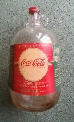"Estate RARE ""COCAINE REMOVED"" Coca Cola Paper Label Syrup Bottle w/Cap 1 Gallon"