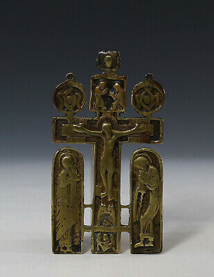 Rare 17 C. Antique Russian Old Believers Bronze Cross Icon Crucifixion Of Christ