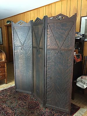 "Antique Arts & Crafts Mission Screen, Quartersawn Oak, 60""w X 70/71""h, Dark Oak"