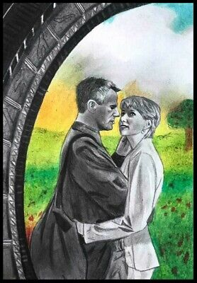 ACEO DOUBLE Graphite sketch card  stargate   Jack O'Neill Sam Carter