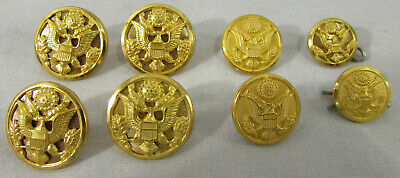 """Lot of 8 US Army Military Dress Uniform Metal Buttons 7/8"""", 3/4"""", 5/8"""" Waterbury"""