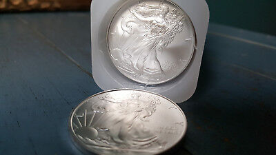 Roll of (20) - 2008 One Troy Ounce Silver Eagles. BU In Original US Mint Tube.