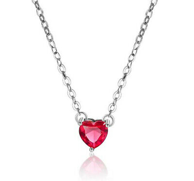 Heart Crystal Stone Pendant 925 Sterling Silver Necklace Women's Jewellery Gift