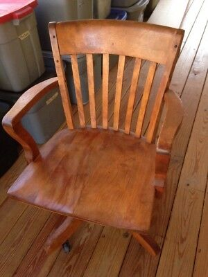 Vtg Antique Gunlocke Style Solid Honey Maple Wood Bankers Office Swivel Chair