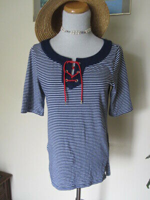 b80f0adc1f777 Jones New York Signature Blue White Striped op Red Lacing Cotton knit  NAUTICAL S
