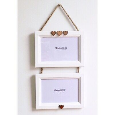 White Double 2 Photo Wooden Hanging Picture Frame Heart Twine Handmade 5x7 5 X 7