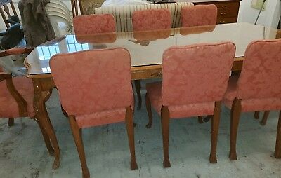 Antique Burr Walnut Dining Table And 8 Chairs, Sideboard & Cutlery Buffet Hutch