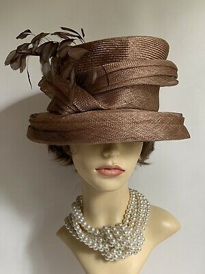 Gwynther Snoxells Cappuccino Abaca Dress Hat Feather Detail Weddings Church