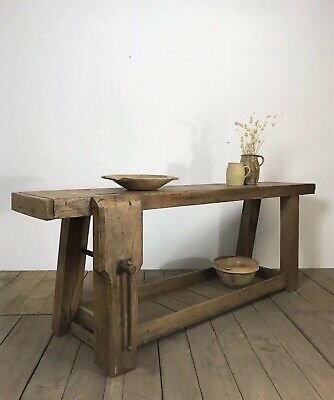 Superb Antique French Oak Country Farmhouse Workbench