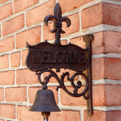 Rustic CAST IRON art FLEUR DE LIS Old Welcome Dinner BELL antique wall decor