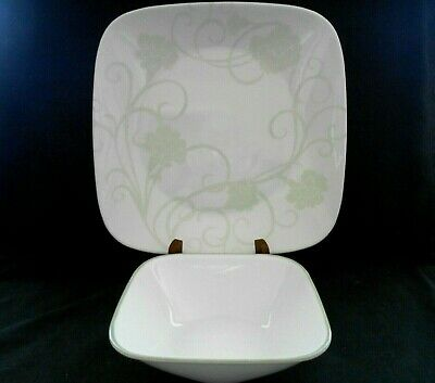 Corelle Eloquence Pattern 7 Square Dinner Plates & 4 Square Soup Bowls w1s5