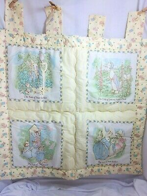 VINTAGE QUILTEX PETER RABBIT BEATRIX POTTER Padded Wall Hanging Yellow 26597